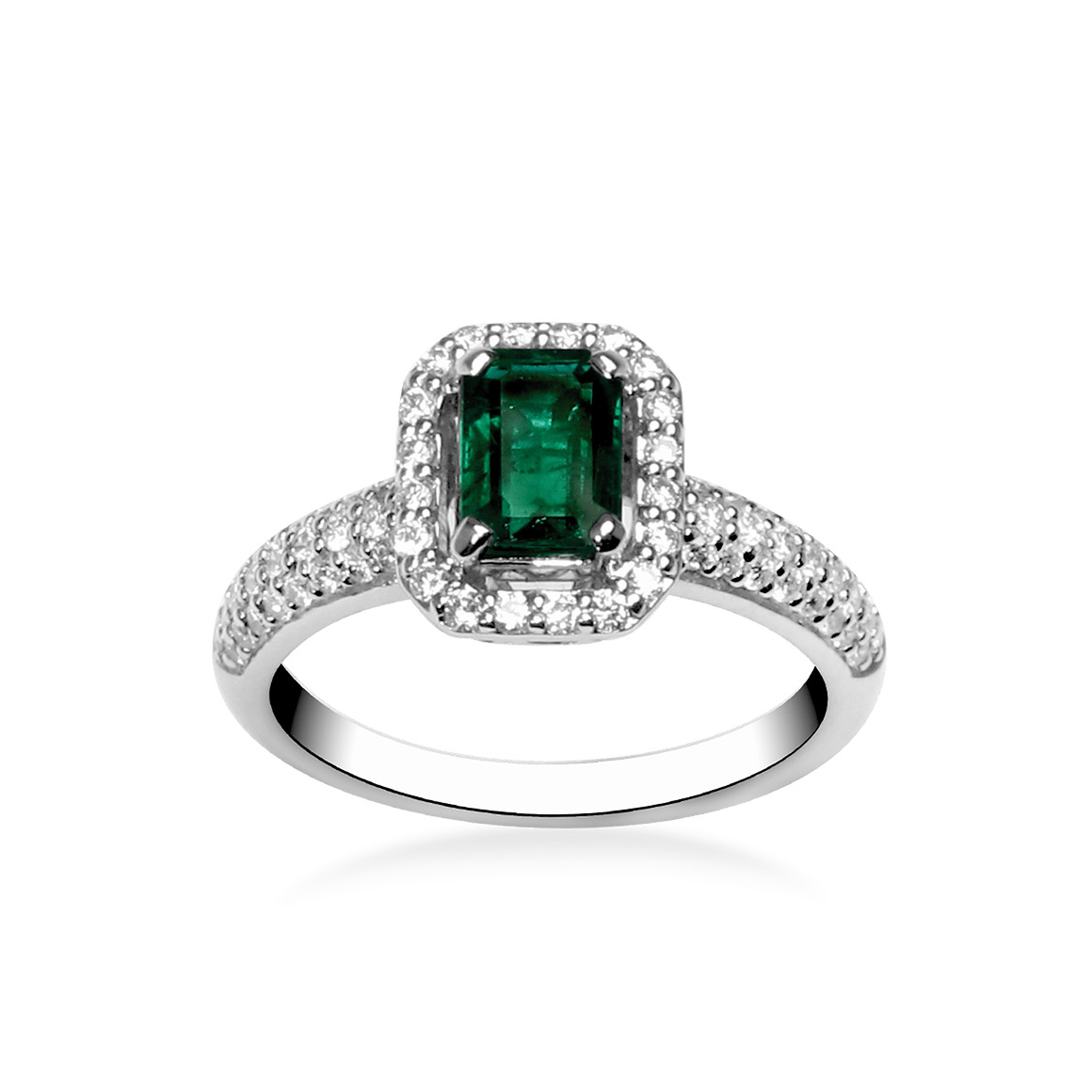 emerald ring emerald cut white gold