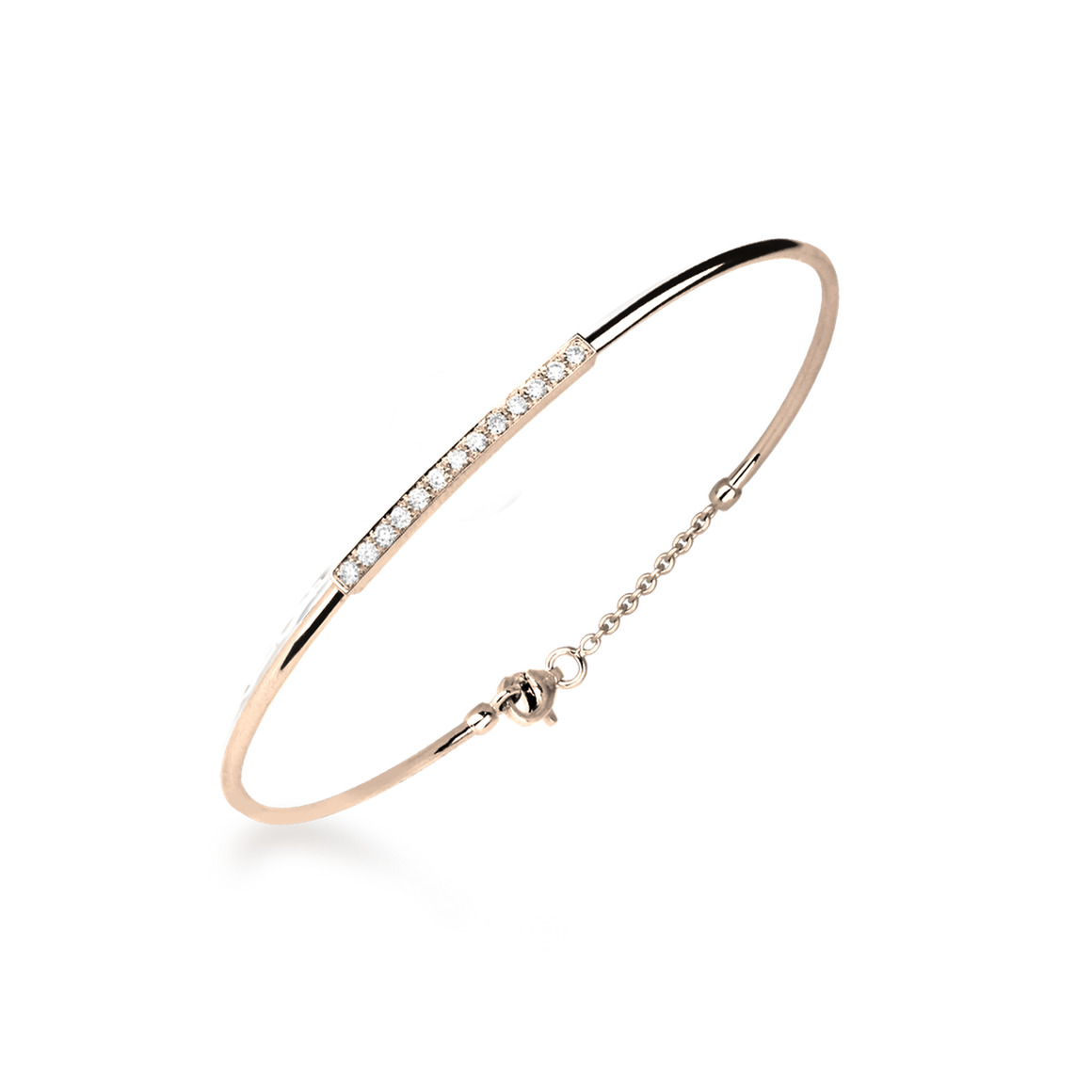 bracelet fil diamant or rose