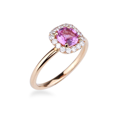 bague saphir rose or rose